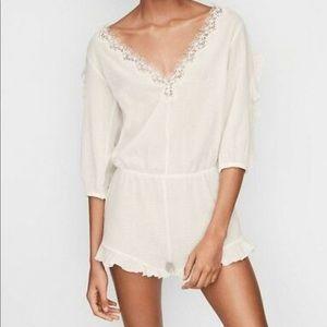 Victoria's Secret White Ruffle Romper